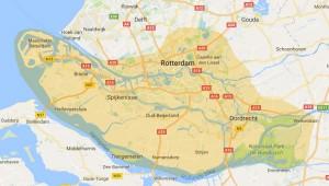 Een Google kaart met het bezorggebied van Bakkerij Pot: Rotterdam, Dordrecht en het eiland Voorne-Putten zijn gemarkeerd.